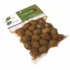 Зелёные оливки с натуральным перцем и чили 250 гр